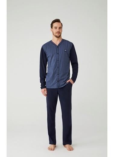 Mod Collection Erkek Boydan Patlı Pijama Takımı Lacivert